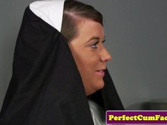 Plump brit nun cocksucking until face spunked Thumb