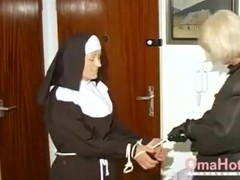 OmaHoteL Horny Granny Nun Tries BDSM Sex With Toy Thumb