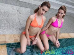 Paradise Gfs - Twin babes sucking my cock poolside in paradise Thumb