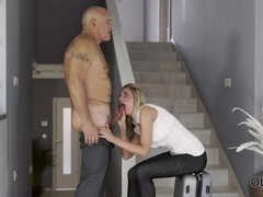 OLD4K. Mature guy fucks his busty mistress when they return at home Thumb