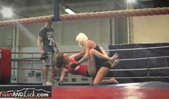 Wrestling amateur lesbians get topless and intimate kissing a Thumb