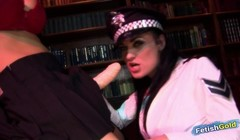 Blonde babe fucks with a big strap on dominant police woman Thumb