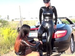 Lesbian latex cop performs sexy traffic stop (part 2) Thumb
